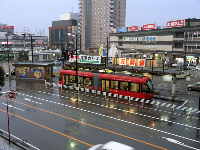 Takaoka Japan  City new picture : Tram station, with the JR Takaoka station in the background 12/17/08 ...